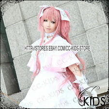 Puella Magi Madoka Magica Kaname Madoka cosplay wig pink colour 100CM 2 clip