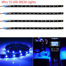 4Pcs Blue Super Bright 15 LED 30CM Car Motorcycle Grill Flexible Light Strip New