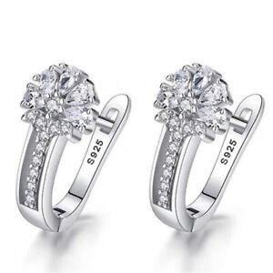 925 Sterling Silver Crystal Zircon Huggie Hoop Clip Earrings Womens Xmas Gift