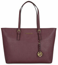 ❤️ MICHAEL KORS Jet Set Travel MEDIUM Travel Tote MERLOT Saffiano Leather $278