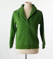 J. Crew Womens Green Shawl Collar Popover Fleece Sweater Kangaroo Pocket Small