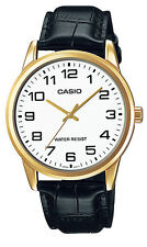 Casio MTP-V001GL-7B Men's Gold Tone Leather Band Easy Reader White Dial Watch
