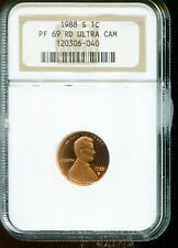 1988-S Lincoln Cent NGC PF 69 RD Ultra Cam Proof 69 Red Ultra Cameo