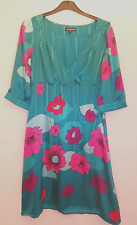 Teal Green Floral Print WAREHOUSE Dress