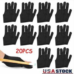 20PCS 3 Fingers Billiard Cue Pool Gloves Snooker Left Hand Nylon Accessories SET