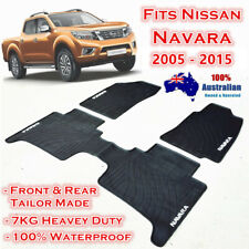 Waterproof Rubber Floor Mats for Nissan Navara 2005 - 2015 Dual Cab D40 Black