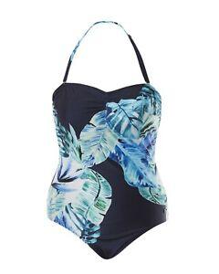 Emmeline Placement Palm Bandeau Women's One Piece Swimsuit /Swimwear- Navy