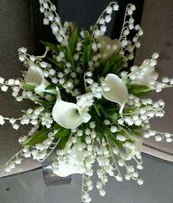 White Wedding Bouquet Bridal Silk Flowers Calla Lily, Lily of the valley 2pc