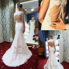 Fashion Lace Wedding Dress With Open Back Mermaid Long Tail Bridal Gowns