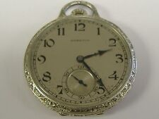 VINTAGE 14K SOLID WHITE GOLD HAMILTON  904 POCKET WATCH 60+ GRAMS, 21 JEWELS 12S