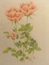 colored pencil drawing original flowers peach roses