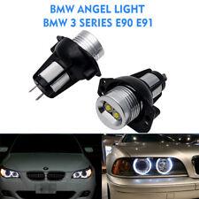 2x Angel Eye Halo Ring LED Lights 6W Marker Bulb For BMW E90 E91 3 Series White