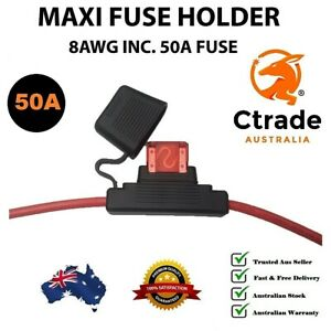 50amp Maxi Fuse with Weatherproof Holder 8AWG (8 B&S) wire Dual Battery 50A