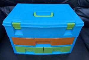 Vintage Crayola 3 Drawer Arts Crafts Storage Box Organiser Carrying Case Handle*