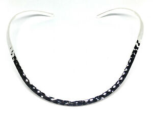 silver neckwire necklace choker plated plain hammered base