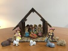 Vintage 14-Piece Christmas Nativity Set With Barn in Box