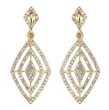 CLIP ON EARRINGS - gold plated dangle earring with clear crystals - Bha