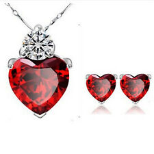 Newest Women Gold P Red Heart Crystal Jewelry Sets Wedding Necklace Earring Sets