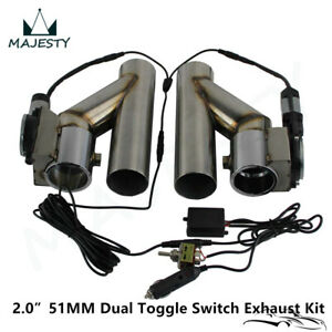 """2"""" Dual Electric Exhaust Cutout Downpipe Dump Bypass Valve w/ Switch Control Kit"""