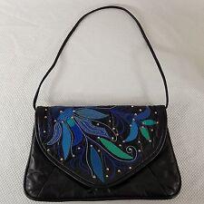 7 Seven Handbag By Dimitri Black Leather Studded Vintage Patchwork Purse