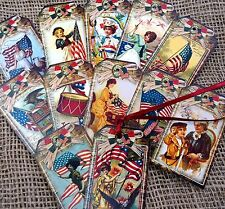 Set of 12 Classic Americana July 4th Gift Tags & Ribbon