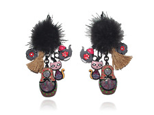 Boucles d'oreilles Matriochka,lol bijoux,pompon,chat,théière,poupée russe,noir