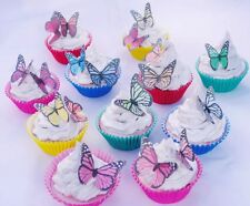 Butterfly 10pc Edible Cake Topper Monarch Rainbow Christening 1st Birthday Deco