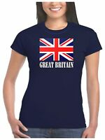 Ladies Union Jack T Shirt - Choice of Red White and Blue or Pink Union Jack Flag