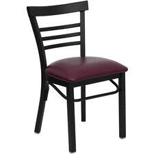 Metal Restaurant Chair Deluxe Ladder Back with Burgundy Vinyl Seat