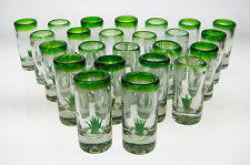 Mexican SHOT Glasses (24), Handblown w/ Agave Cactus or Saguaro (tequila)