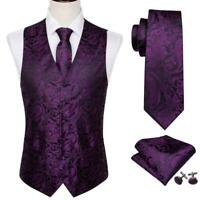 Mens Paisley Purple Waistcoat Vest Silk Necktie Set Formal Prom Casual Wedding