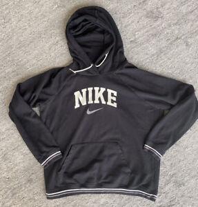 NIKE Womens  Hoodie Sweatshirt Swosh Pullover Black Kangaroo Pockets Size Large