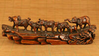 Antique old boxwood elephant statue netsuke collection table decoration