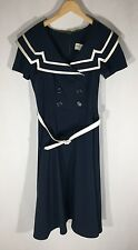 Bettie Page Captain Nautical Swing Dress Navy VLV Rockabilly Retro Plus 3X EUC