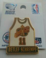 NBA Seattle Supersonics Sonics Detlef Schrempf #11 White Jersey Pin Basketball