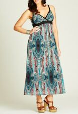 Plus Size Crossroads Paisley Blue Mix Sleeveless Maxi Dress Size 20 Free Post