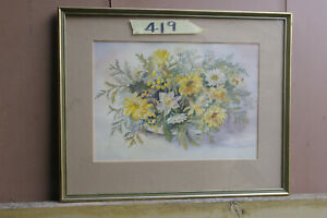 Watercolour Painting by M. W. Varley. Spring Blooms.
