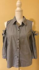 SAKS 5th AVE ladies blue and white striped top (L)
