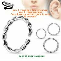 Surgical Stainless Steel Braided Twisted Silver Nose Ring Hoop