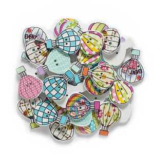 30pcs Hot-air Balloon Wood buttons for Sewing Scrapbooking Cloth Handmade Decor