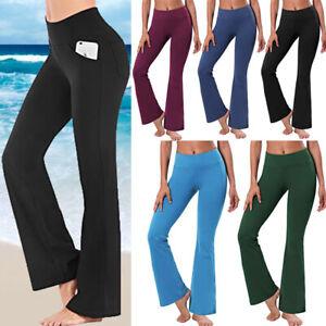 Womens High Waist Yoga Pants Flare Leg  Bootcut Sport Stretchy Leggings Trousers