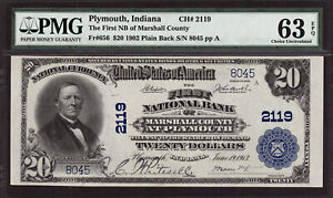 $20 1902 First National Bank Marshall County Plymouth Indiana CH 2119 PMG 63 EPQ