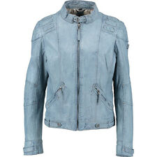 Cool denim blue washed 100% LEATHER biker style JACKET by Gipsy XL bnwt £395