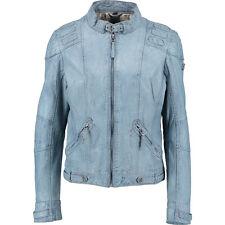 Genial denim lavado azul 100% PIEL estilo motero chaqueta Gipsy XL