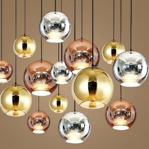 Modern Mirror Glass Ball Pendant Lamp Ceiling Light Fixtures Gold/silver/copper