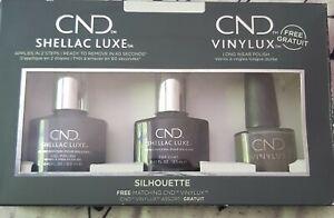 🧡CND Shellac Silhouette 3 Piece Set gel polish , top coat grey nail varnish