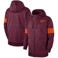 New Nike Men's Virginia Tech Hokies 2019 Sideline Full Zip Hoodie Medium $90