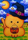 ACEO Original Fantasy Animal Halloween Cat Witch Hat Trick r Treat Candy Moon