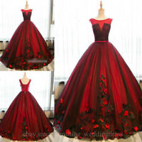 Black and Red Appliques Lace Quinceanera Dresses Sweet 16 Formal Prom Party Gown