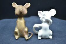 Pair of Vtg Unique Mouse Figures-Brass Sitting Mouse(India)&Pottery Gray Mouse